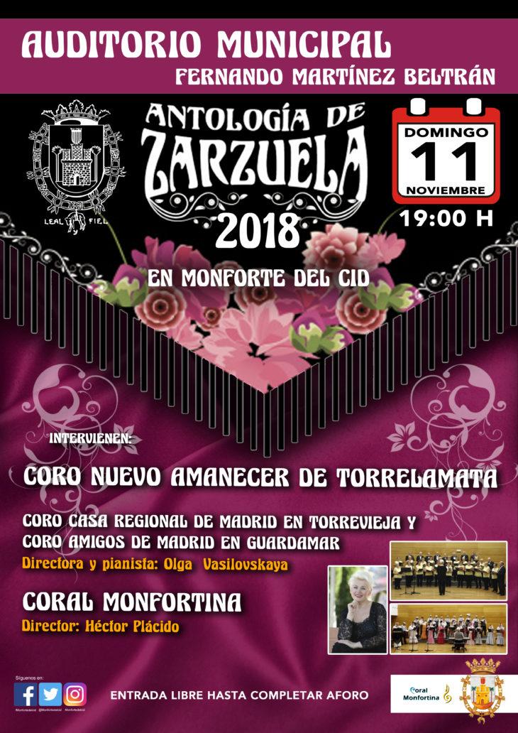 """En el Auditorio Municipal un concierto de """"Antología de Zarzuela"""" a cargo de la Coral Monfortina, y a la que acompañarán el Coro Nuevo Amanecer"""